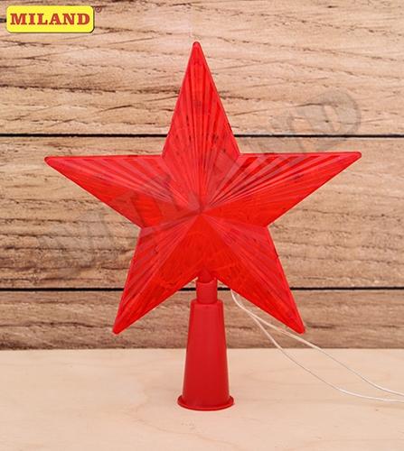 НГ Гирлянда электрическая Верхушка 15см Красная звезда пластик пакет ПВХ