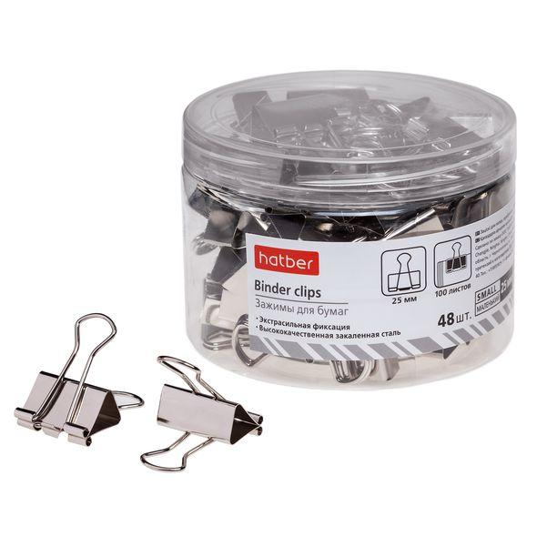 Зажим для бумаг 25мм серебро (1шт)