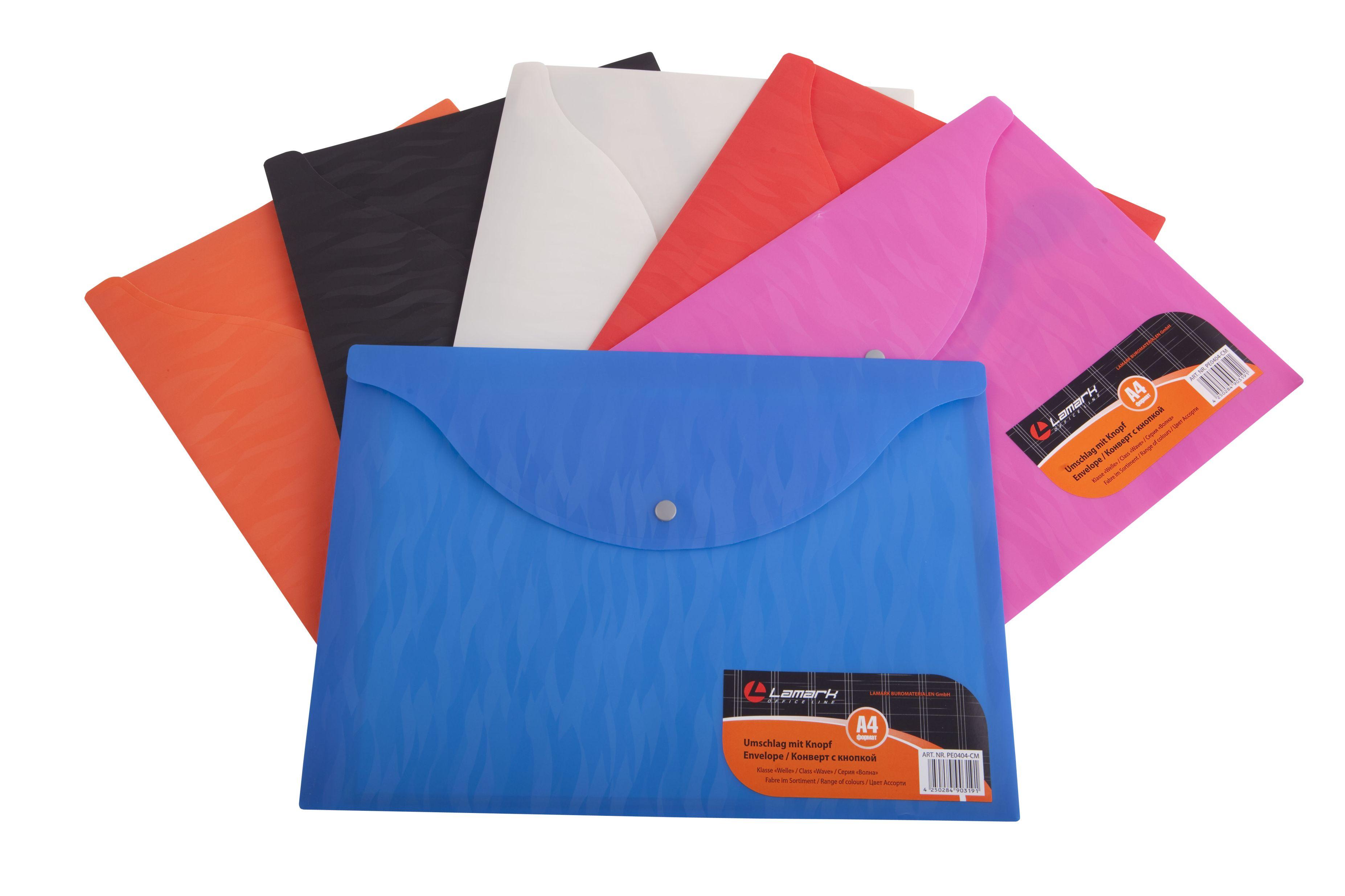 Папка-конверт А4 Lamark Волна синий на кнопке