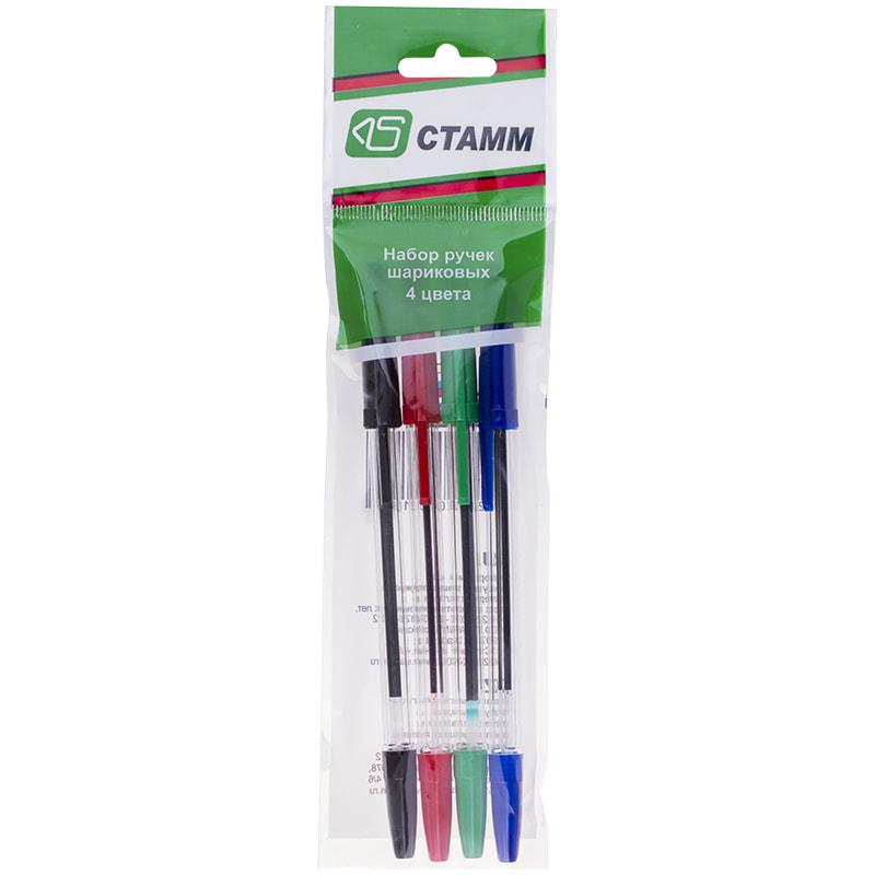 Ручки шариковые 4 цв Оптима прозрачный корпус