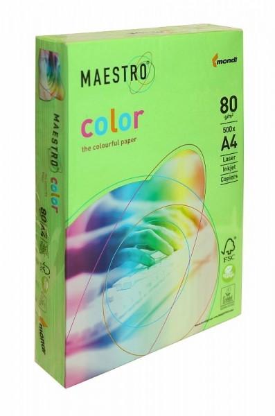 Бумага А4 цветная 250л зеленая ярко Maestro Color 160гр