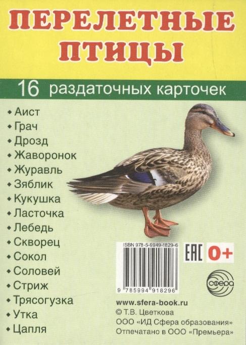 Раздаточные карточки Перелетные птицы (16 штук)