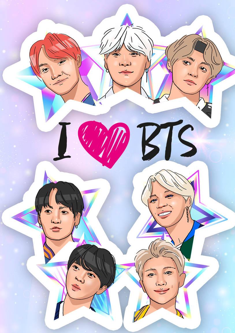 Обложка для паспорта I love BTS