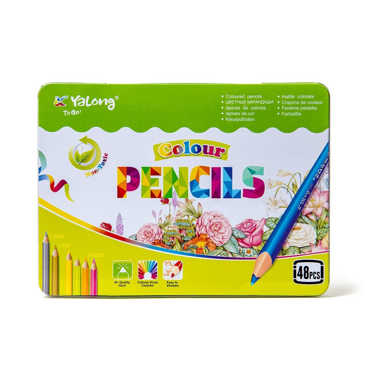 Карандаши цветные 48 цв Yalong Colour трехгран мет/уп