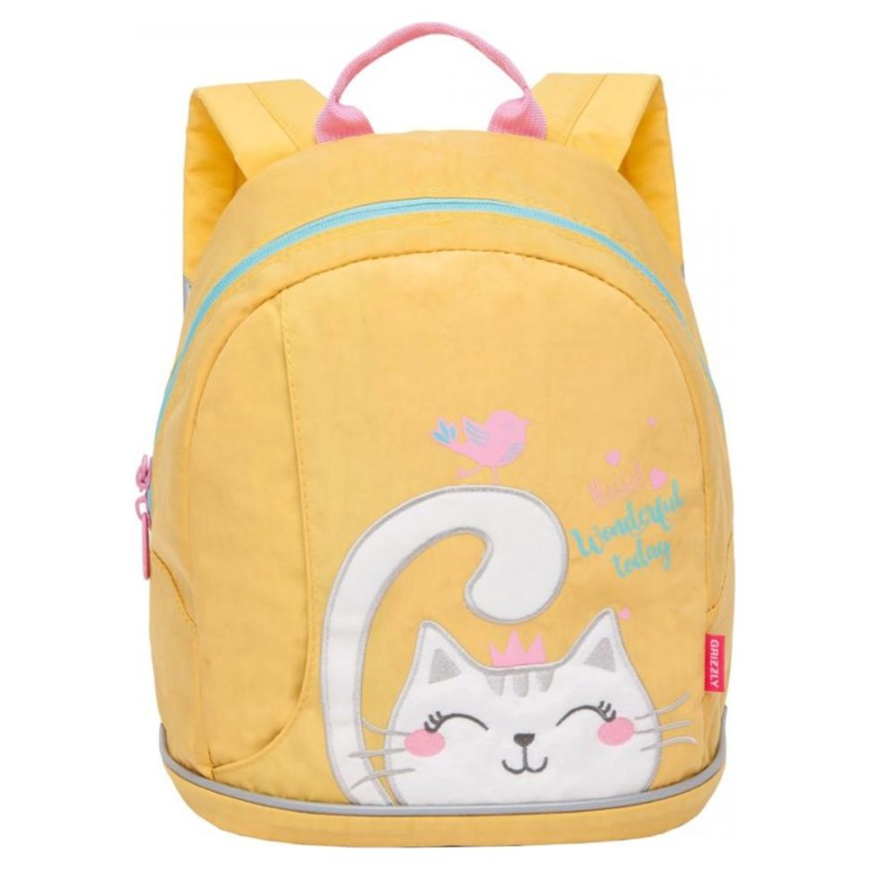 Рюкзак детский Grizzly Кошечка желто-оранжевый 25*30*14