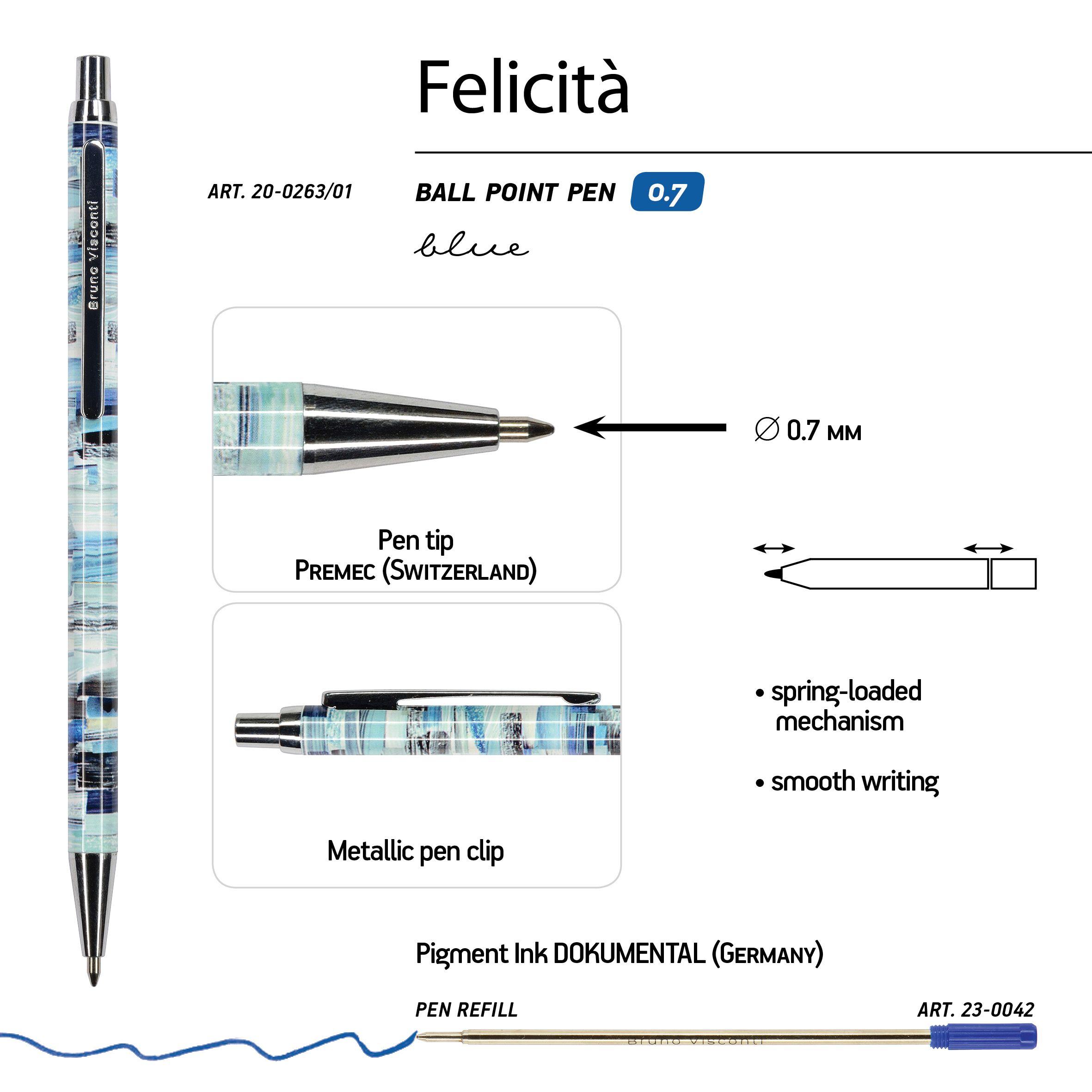 Ручка подар. BV синяя 0,7мм Felicita авт Фантазия