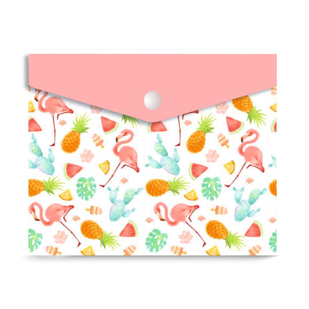 Папка-конверт А6 на кнопке Фламинго