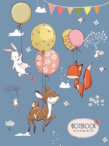 Зап. книжка детская А6 48л лин На воздушных шариках