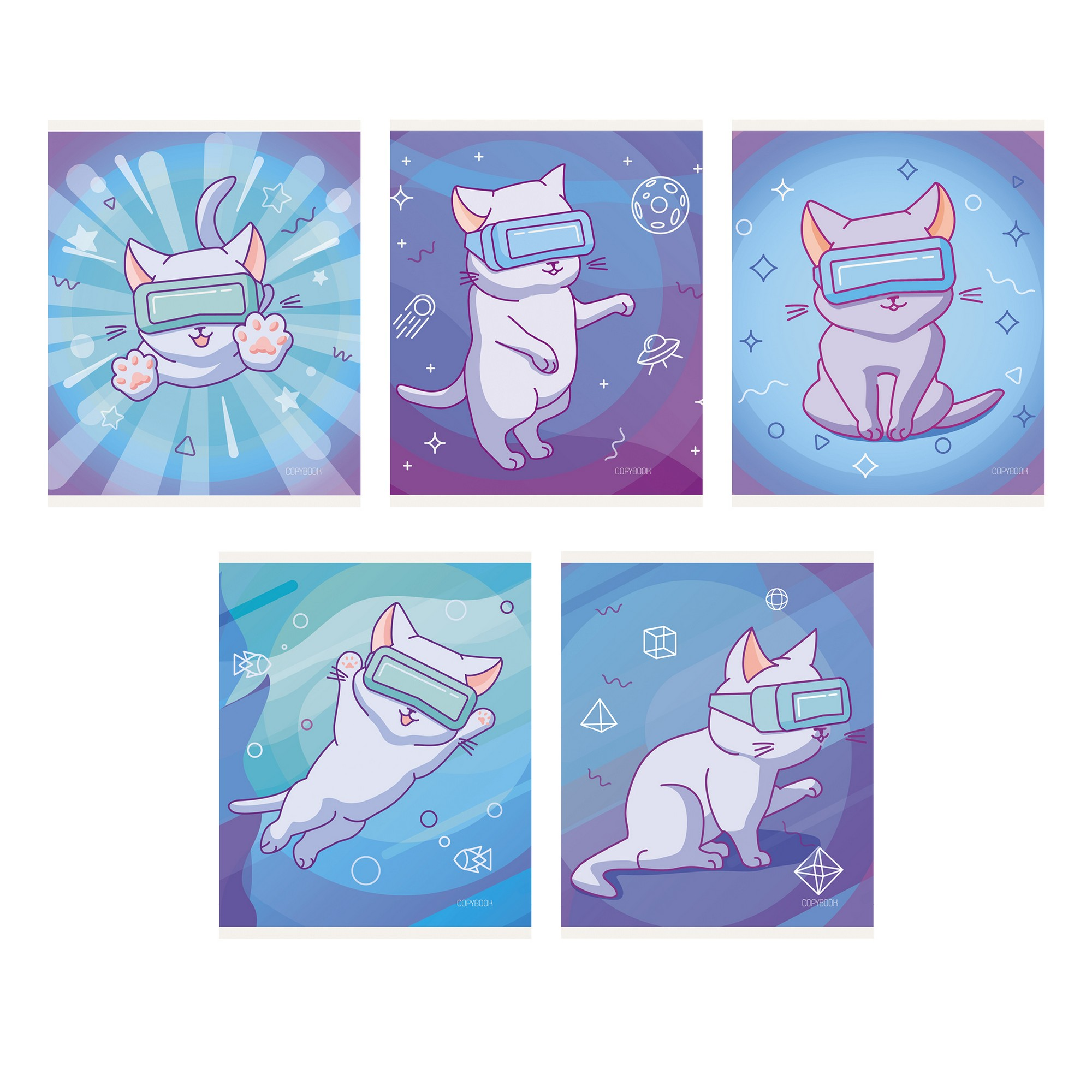 Тетрадь 48л кл Виртуальный кот (блестки)