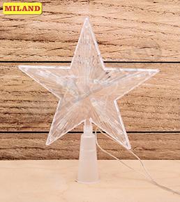 НГ Гирлянда электрическая Верхушка 15см Белая звезда пластик пакет ПВХ
