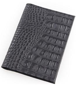 Обложка для автодокументов Miland Крокодил черный кожа