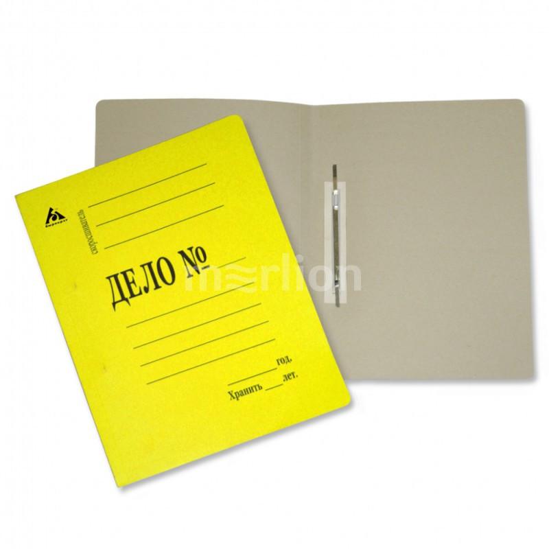 Папка-скоросшиватель Дело желтая картон 260г/м2 мелован