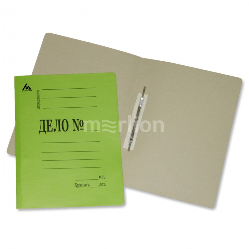 Папка-скоросшиватель Дело зеленая картон 260г/м2 мелован