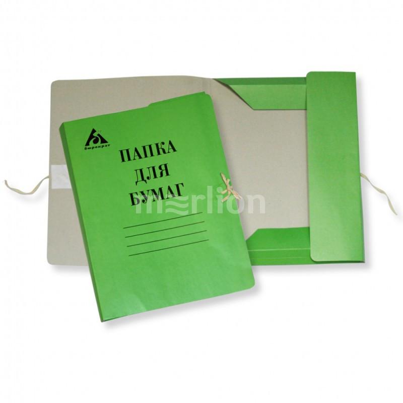 Папка д/бумаг на завязках зеленая 320гр мелов