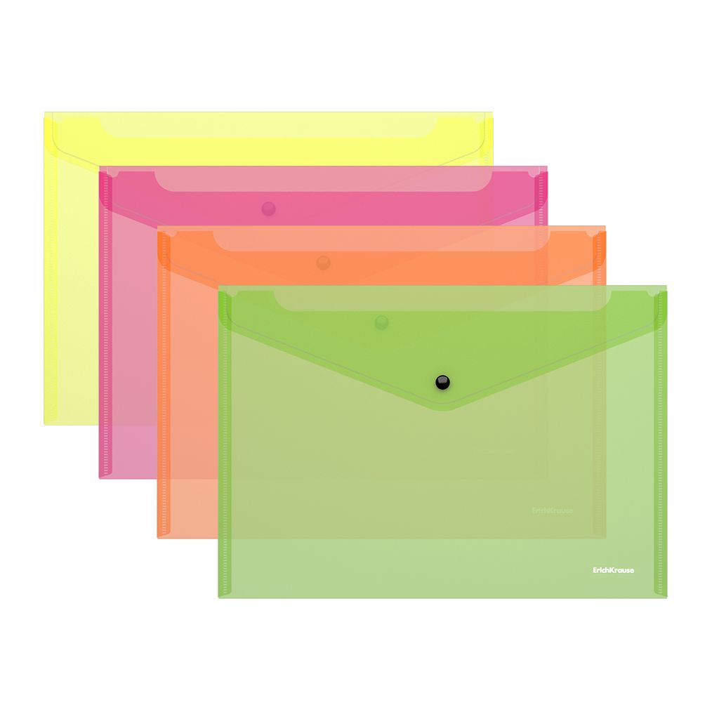 Папка-конверт А4 на кнопке EK Fizzy Neon полупрозр ассорти