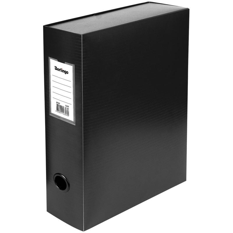 Папка-короб архивная 100мм пласт черный разборн 900мкм на кнопке