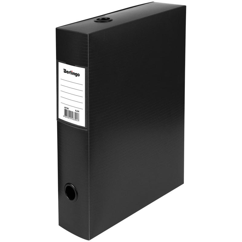 Папка-короб архивная 70мм пласт черный разборн 900мкм на кнопке