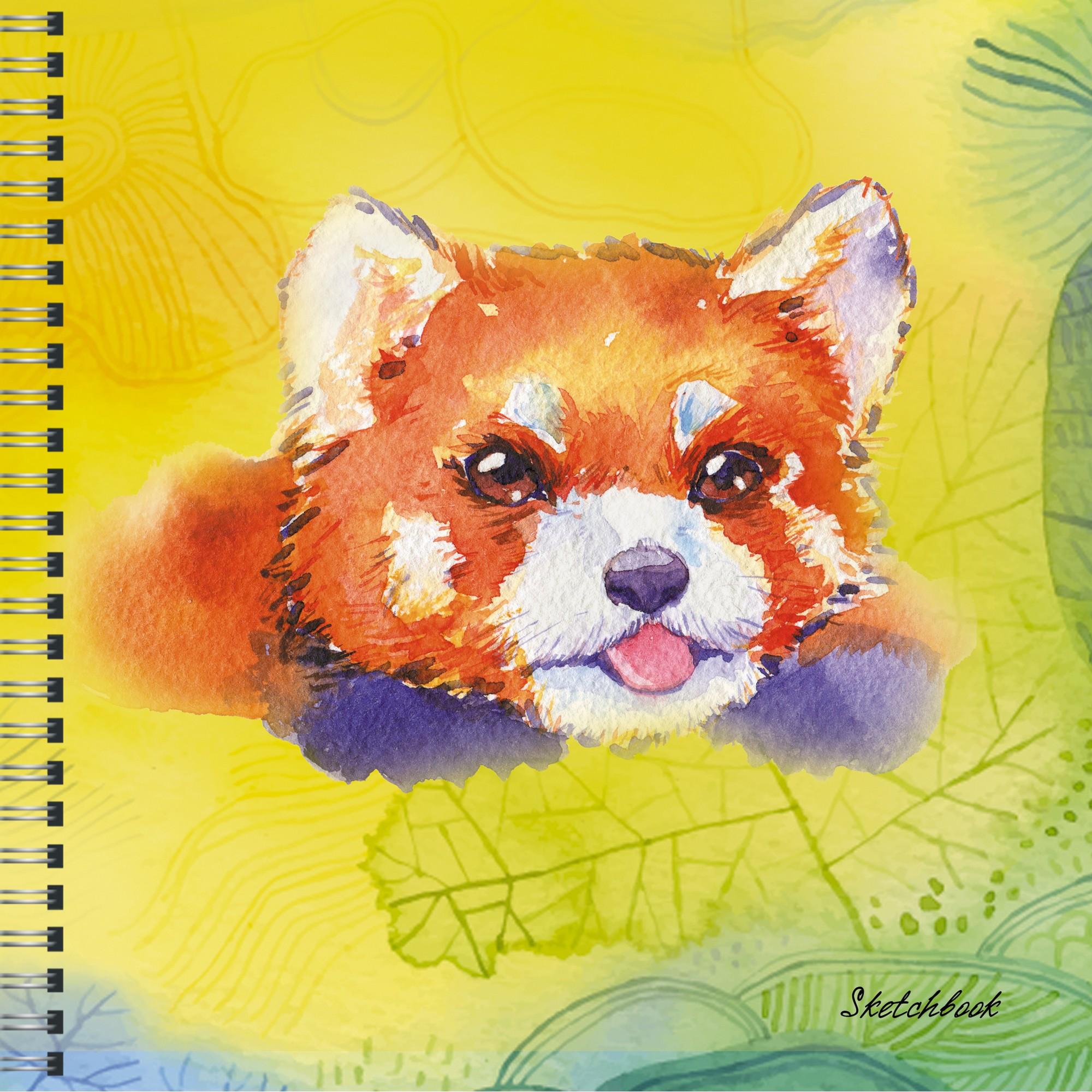 Скетчбук 165*165мм 50л спир Красная панда (акварель) 100гр