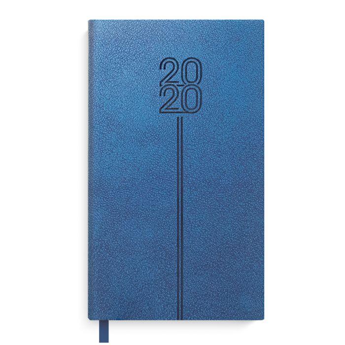 Еженедельник А6 2020г Escalada Травертин синий кожзам
