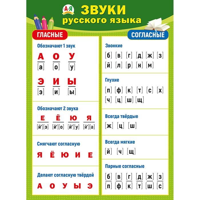 Плакат Звуки русского языка А2 вертик Гласные Согласные