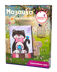 Творч Мозаика из пайеток на холсте 30*40 Кошки-мышки