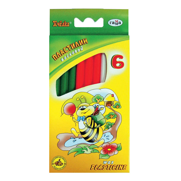 Пластилин 6 цв Пчелка 73гр восковой стек