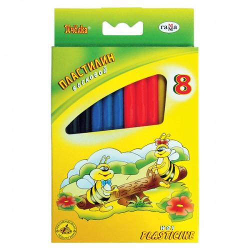 Пластилин 8 цв Пчелка 98гр восковой стек