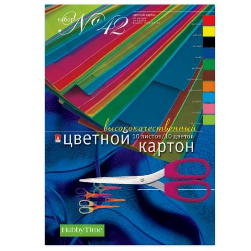 Картон цветной А4 10л 10цв мелов односторонний 190 г/кв.м папка