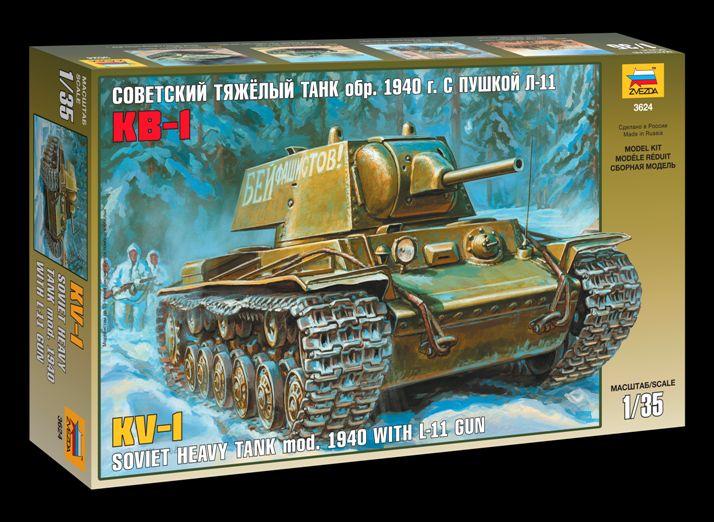 Сборная модель КВ-1 Советский тяжелый танк обр. 1940г. с пушк Л-11 1/35