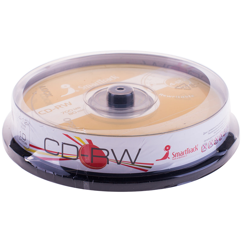 Диск CD-RW SMART BUY SMART TRACK 80min 700MB 4-12х Cake box (10,25,50)