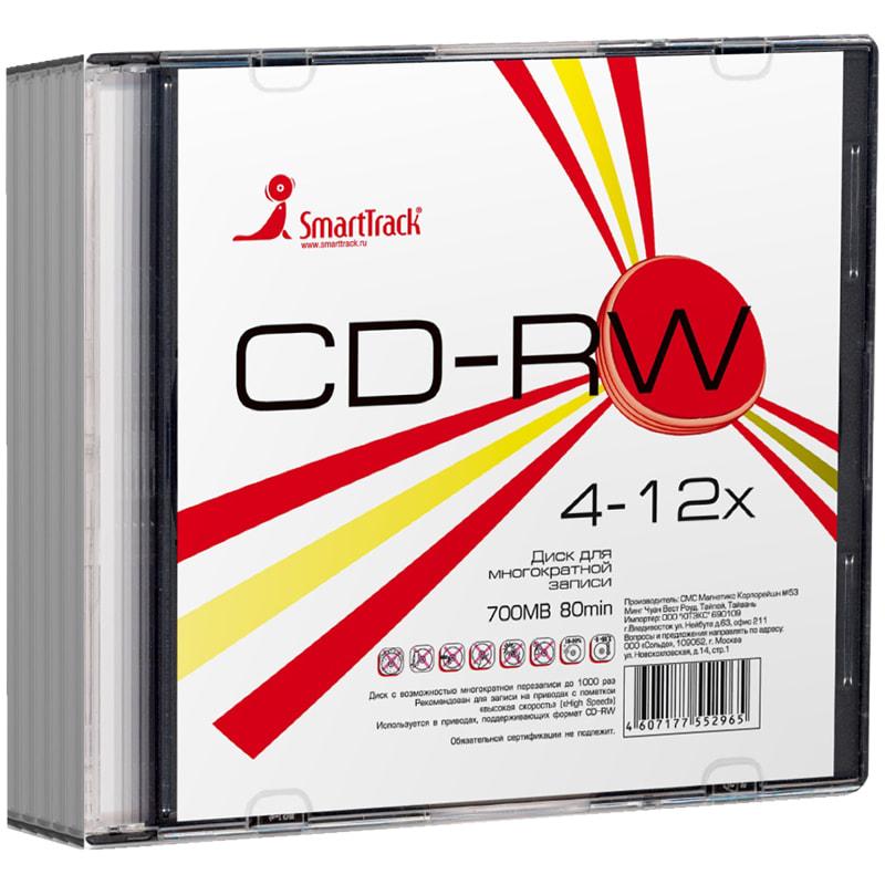 Диск CD-RW Smart Track 80min 700MB 4-12х Slim