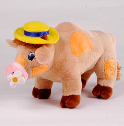 Игрушка мягконабивная Бычок с ромашкой в шляпе