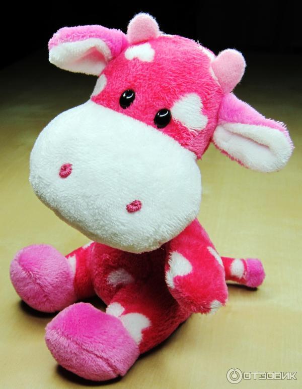 Игрушка мягконабивная Корова розовая (бол)