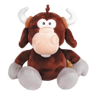 Игрушка мягконабивная Бык коричневый с кольцом в носу