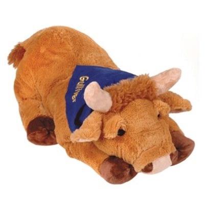 Игрушка мягконабивная Бык коричневый с синей банданой