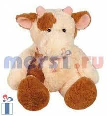 Игрушка мягконабивная Корова бежево-розовая (мал)