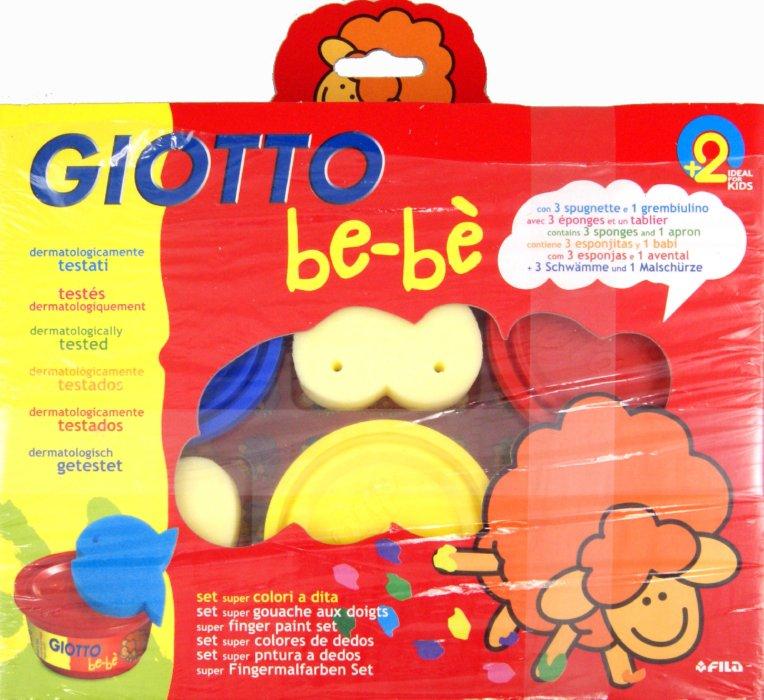 Набор д/рис. пальчиками Giotto be-be 3цв*100мл, 3 губки, фартук