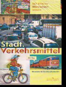 Немецкий язык. Город. Транспорт: Плакат наст. склад. с раздат. материалом