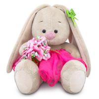 Мягконабивная BUDI BASA Зайка Ми c букетом в розовой юбке 15 см