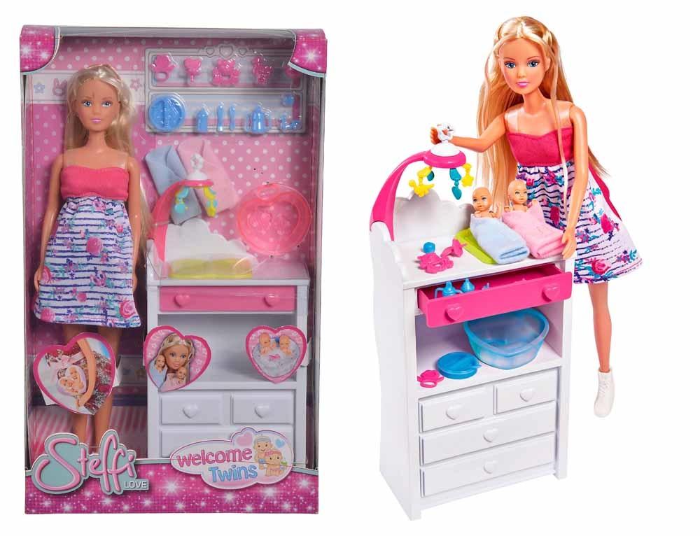 Кукла Штеффи беременная Набор Двойняшки с аксесс 29 см