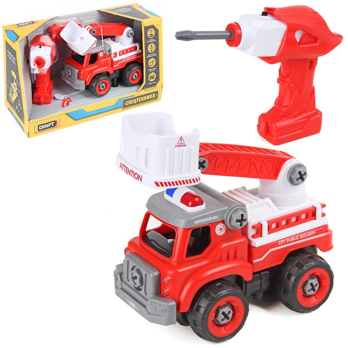 Конструктор-скрутка Пожарный автомобиль с подъемным краном пласт звук