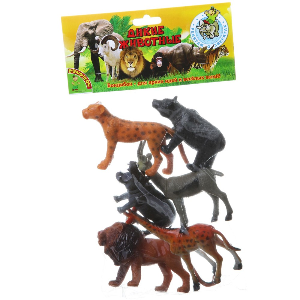 Набор Ребятам о Зверятах Дикие животные с детёнышами 6шт., 2 вид пласт