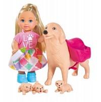 Кукла Еви 12см с собачкой и щенками