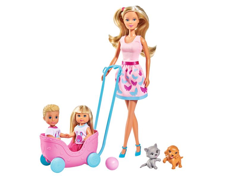Кукла Штеффи, Еви и Тимми с питомцами 29см