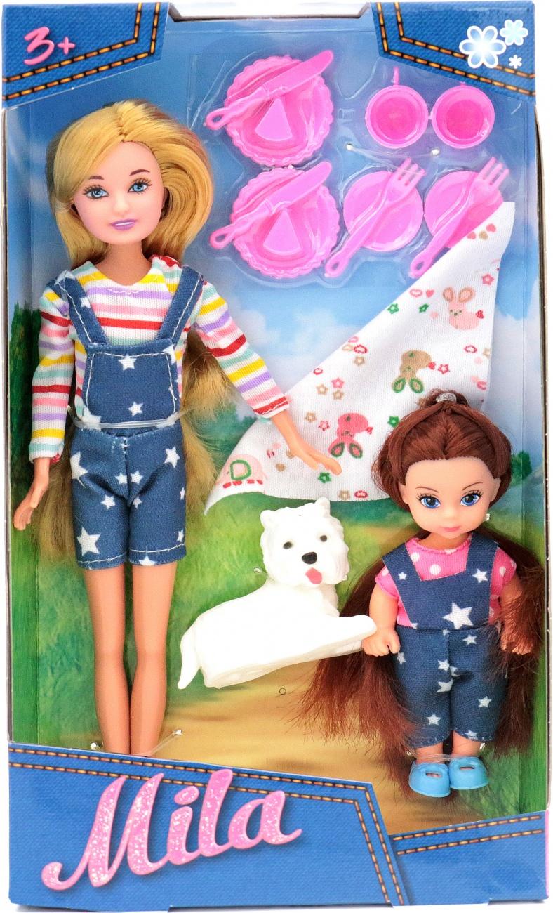 Кукла Мила 23см с куклой Вики 12см с собачкой и набором для пикника