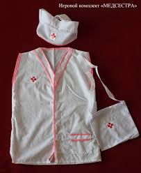 Костюм Медсестра полоска на голову, халат, сумочка, р-р 110-122, 4-6 ле