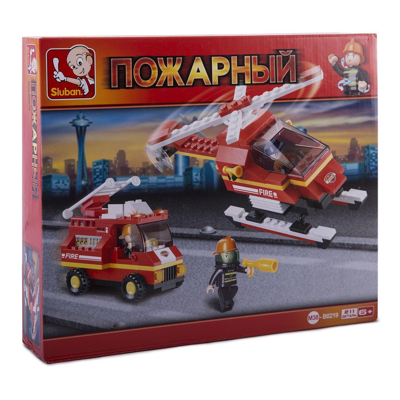 Конструктор Пожарный вертолёт и пожарная машина 211 деталей
