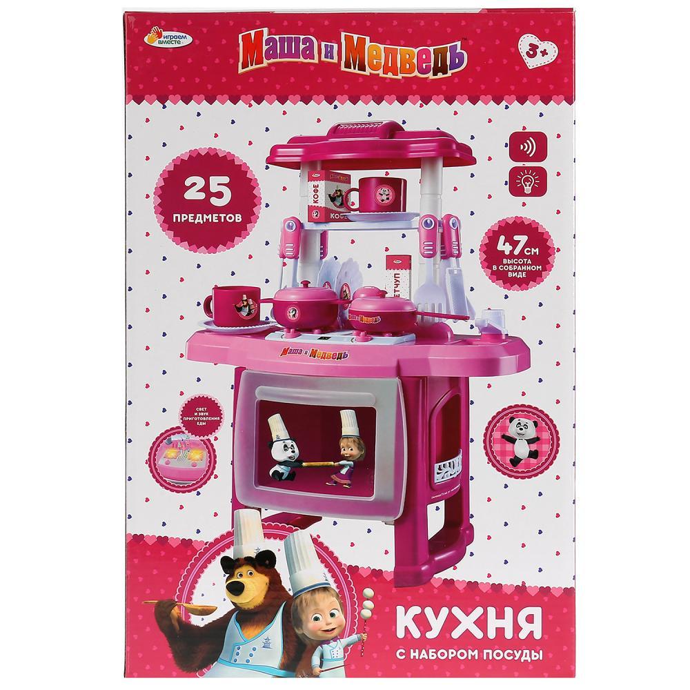 набор Кухня с набором посуды Маша и Медведь на бат. свет+звук