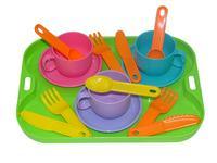 """Набор посуды """"Минутка"""" на 3 персоны с подносом пластмас."""