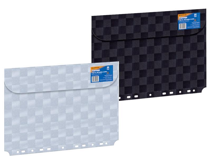 Папка-конверт Silwerhof Quadrat с перфорацией, черная на липе